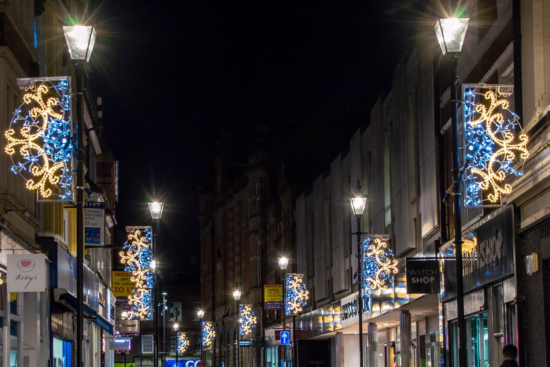 festive lighting. column displays festive lighting